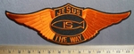 704 S -Jesus Is The Way - Back Patch - Orange Angel Wings - Embroidery Patch
