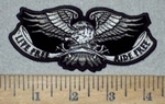 3562 G - Live Free Ride Free Banner With Eagle - Embroidery Patch