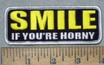 3563 G - SMILE If You're Horny - Embroidery Patch