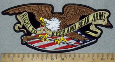 3584 G - Right To Keep And Bear Arms Banner- Eagle With Rifle - American Flag - Back Patch - Embroidery Patch