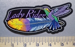 3585 CP - Lady Rider - Colorful Feather And Hummingbird - Embroidery Patch