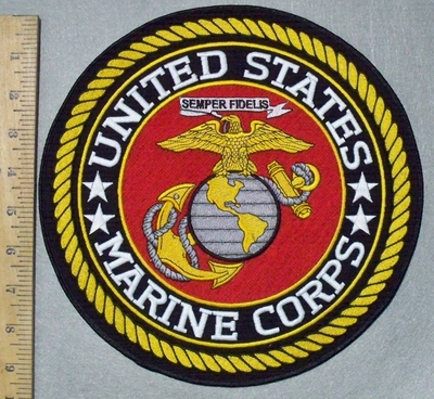 3587 W - discontinued  United States Marine Corps - Round - Back Patch - Embroidery Patch
