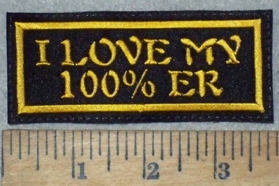 3607 L - I Love My 100% er - Yellow - Embroidery Patch