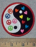 3616 N - Yin Yang - Peace Signs And Hearts - Round - Embroidery Patch