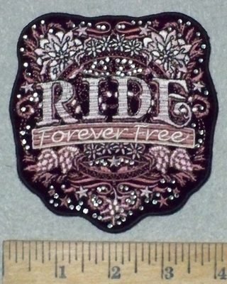 3620 G - Rhinestone Bling - RIDE Forever Free Floral Shield - Embroidery Patch