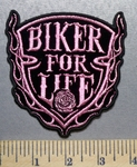 3670 N - Biker For Life - Shiny Pink Shield -  Embroidery Patch