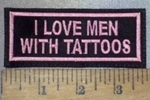 3676 L - I Love Men With Tattoos - Pink - Embroidery Patch
