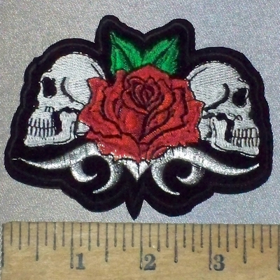 3684 C - 2 Skull Face With Red Rose - Embroidery Patch