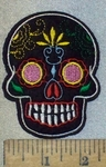 3687 C - Black Skull Face with Flowers - Embroidery Patch