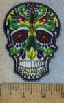 3692 C - Multi - Colored  White Skull Face - Embroidery Patch