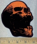 3693 N - Orange And Black Skull Face - Embroidery Patch