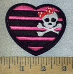 3695 C - Pink And Black Striped Heart With Pirate Skull Face - Embroidery Patch