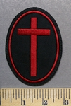 3698 L - Oval Maroon Cross - Embroidery Patch
