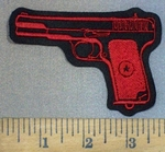 3708 L - Hand Gun - Red - Embroidery Patch