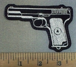 3709 L - Hand Gun - White - Embroidery Patch