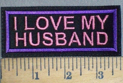 3742 L - I Love My Husband - Purple Border - Embroidery Patch