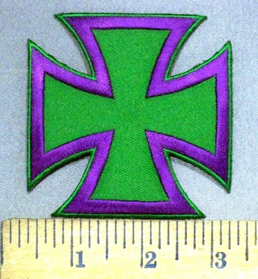 3755 W - Purple And Green Iron Cross - Chopper Logo - Embroidery Patch