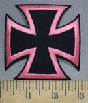 3756 W - Pink And Black Iron Cross - Chopper Logo - Embroidery Patch