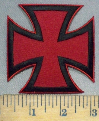3757 W - Black And Red Iron Cross - Chopper Logo - Embroidery Patch