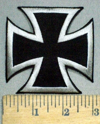 3759 W - Silver And Black Iron Cross - Chopper Logo - Embroidery Patch