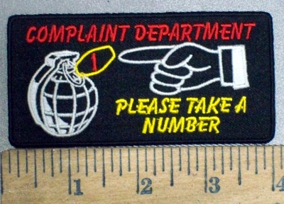 3773 N - Complaint Department - Please Take A Number - Embroidery Patch