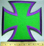 3775 W - Purple And Green Iron Cross - Chopper Logo - Embroidery Patch