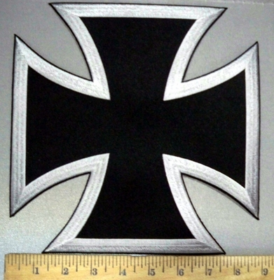 3776 W - Silver And Black Iron Cross - Chopper Logo - Embroidery Patch