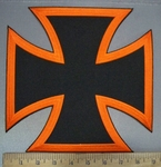 3777 W - Orange And Black Iron Cross - Chopper Logo - Back Patch - Embroidery Patch