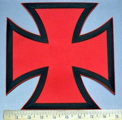 3778 W - Red And Black Iron Cross - Chopper Logo - Back Patch - Embroidery Patch