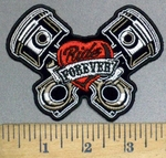 3790 G - V- Twin Pistons With Ride Forever In Red Heart - Embroidery Patch