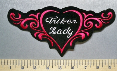 3791 S - Triker Lady - Red Celtic Design - Embroidery Patch