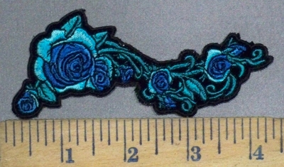 3793 G - Vine Of Turquoise Roses - Embroidery Patch