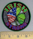 3795 G - Irish Strong - 3 Leaf Clover - Half American Flag - Half Irish Green - Round - Embroidery Patch
