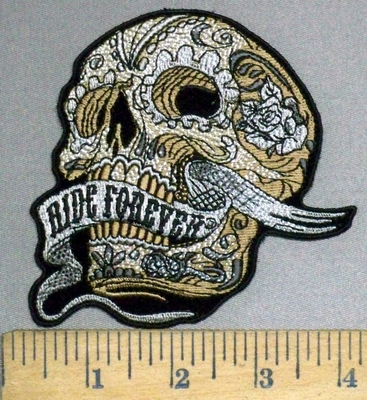 3796 G - Off White Skull Face -  With Ride Forever Waving Banner - Embroidery Patch