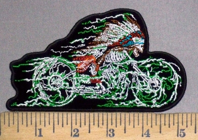 3797 G - Indian Skullman Riding Motorcycle - Embroidery Patch