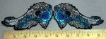 3799 G - Turquoise  Angel Rose Wings - Embroidery Patch