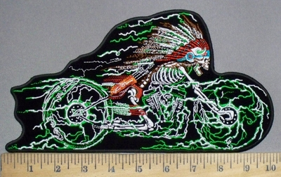 3800 G - Indian Skullman Riding Motorcycle - Back Patch - Embroidery Patch