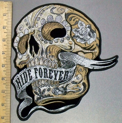 3802 G - DISCONTINUED  Off White Skull Face With Ride Forever Waving Banner - Back Patch - Embroidery Patch -