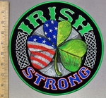3804 G - DISCONTINUED Irish Strong - Half American Flag Half Irish Three Leaf Clover - Round - Back Patch