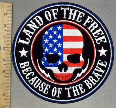 3805 G - Land Of The Free Because Of The Brave - American Skullface - Round - Embroidery Patch