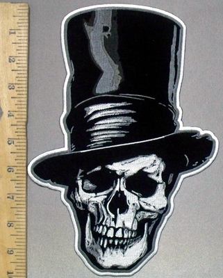 3806 G - Skull Face With Top Hat - 10 Inch Back Patch - Embroidery Patch