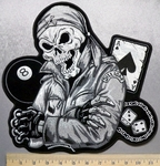 3808 CP -  Skull Man Wearing Bandana With 8 Ball - Die - Ace Of Spades - Large Back Patch - Black And White - Embroidery Patch