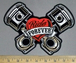 3809 G - DISCONTINUED  V - Twin  Pistons Ride Forever Within Red Heart - Back Patch - Embroidery Patch