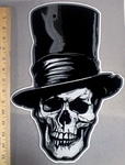 3810 G - Skull Face With Top Hat - 15 Inch Back Patch - Embroidery Patch