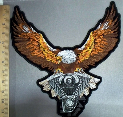 3811 G - Bald Eagle Flying With V - Twin Engine - Back Patch - EMbroidery Patch