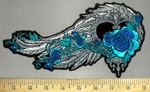 3817 G - Feathered Heart With Turquoise Roses - Back Patch - Embroidery Patch