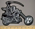 3818 G - Reaper Riding Motorcyle With Large Scythe - Back Patch - Embroidery Patch