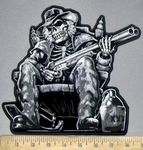 3819 G - Skeleton Man Sitting In Rocker With Moonshine Jug And Pistol - Back Patch - Embroidery Patch