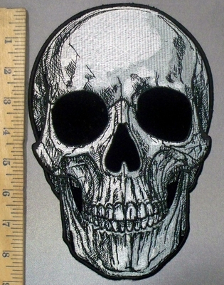3822 G -- Smiling Skull Face- Back Patch - Embroidery Patch