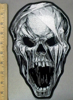 3823 G - DISCONTINUED  Screaming Skull Face - Back Patch - Embroidery Patch